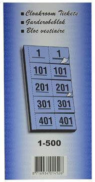 Garderobeblokken nummers van 1 t.e.m. 500, geel