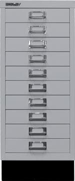 Bisley ladekast, ft 67 x 27,9 x 40,8 (h x b x d), 10 laden, lichtgrijs