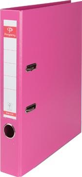 Pergamy ordner, voor ft A4, volledig uit PP, rug van 5 cm, roze