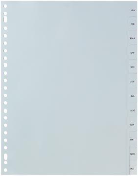 Pergamy tabbladen, ft A4, 23-gaatsperforatie, grijze PP, januari-december