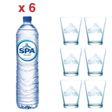 ACTIE SPA: 2 x Spa Reine, 1,5 liter, 6 stuks (ref. 51865) + GRATIS 1 x Spa glas, 6 stuks (ref. SPAGLAS)