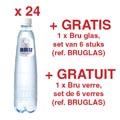 ACTION BRU: 2 x eau légèrement pétillante, 50 cl, 24 pièces (réf. 05180) + GRATUIT 1x Bru verre, 6 pièces